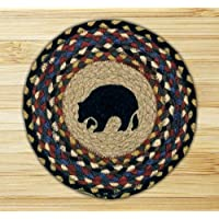 Earth Rugs 80-043 Black Bear Round Printed Swatch, 10-Inch
