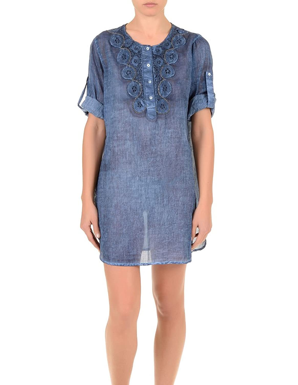 Iconique IC7-072 Women's Jeans Blue Cotton Blouse Cover Up