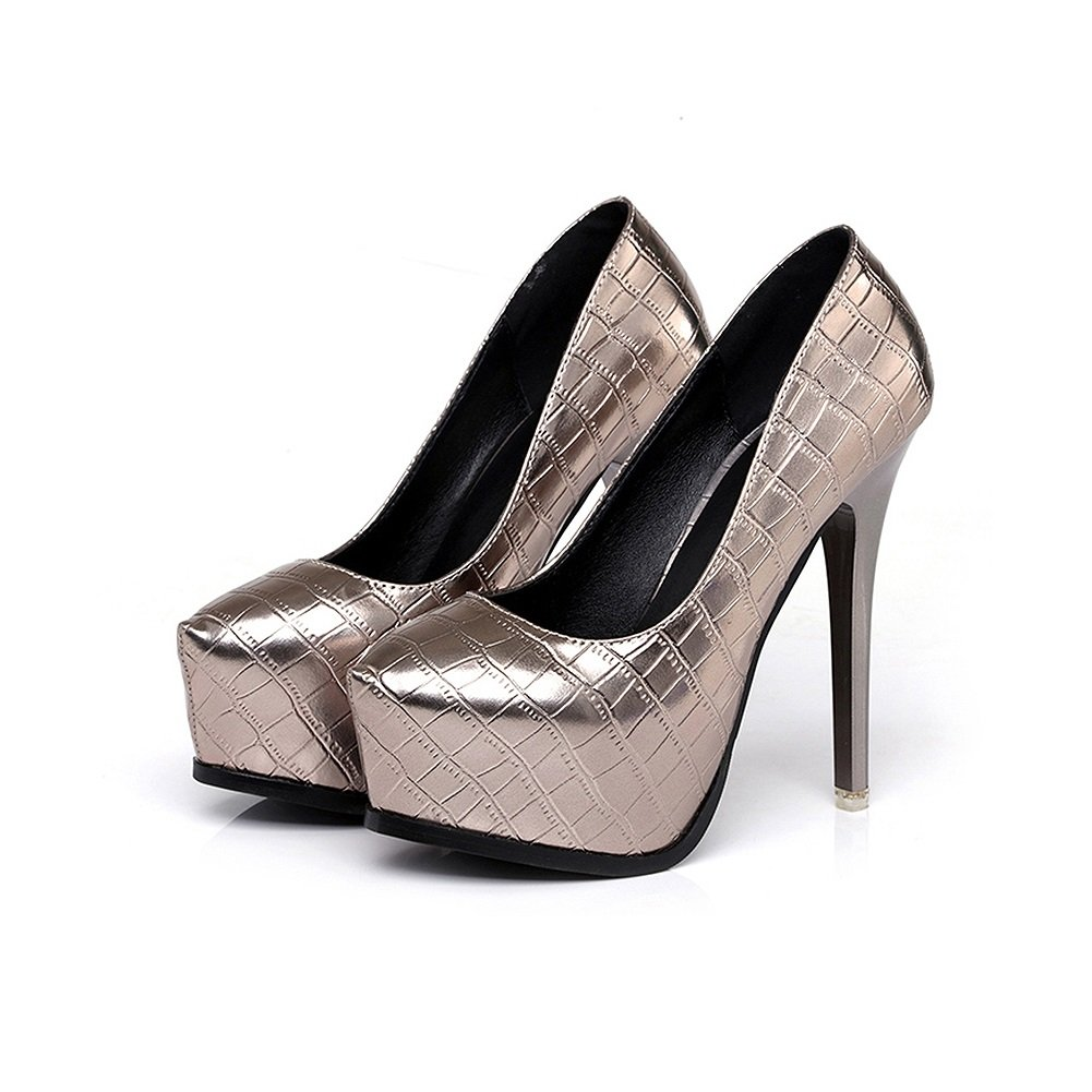 Pumps XUERUI Neue Super High Heels Nachtclubs Leder Komfort Wasserdichte Plattform High Heels (Farbe   Silber, größe   EU36 UK4 CN36)