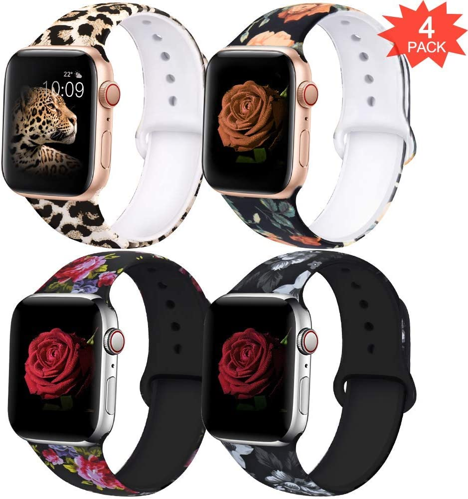 EXCHAR Compatible with Apple Watch Band 38mm 40mm Fadeless Pattern Printed Floral Bands Silicone Replacement Band for iWatch Series 4 Series 3/2/1 for Women Men S/M 4 Pack A