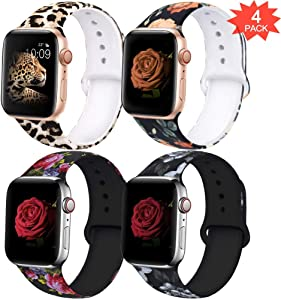 EXCHAR Compatible with Apple Watch Band 42mm 44mm Fadeless Pattern Printed Floral Bands Silicone Replacement Band for iWatch Series 4/5 Series 3/2/1 for Women Men M/L 4 Pack A