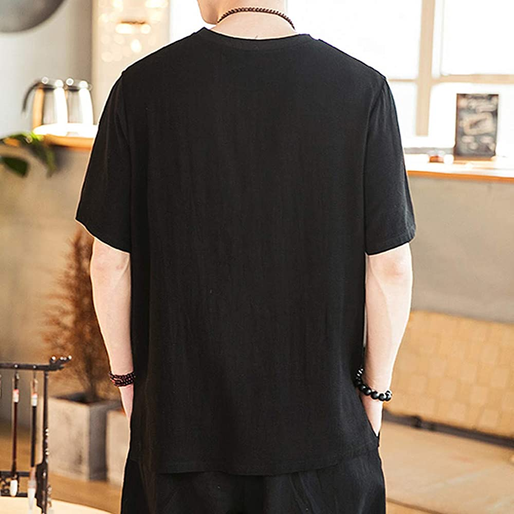 MIRRAY - Camiseta de Manga Corta para Hombre, de Verano, Informal, Color algodón y Lino, Manga Corta Negro XL: Amazon.es: Ropa y accesorios