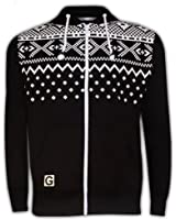 New Mens Aztec Print Zip Up Hoody Sweatshirt Hooded Fleece Top S to XXL Jumpers