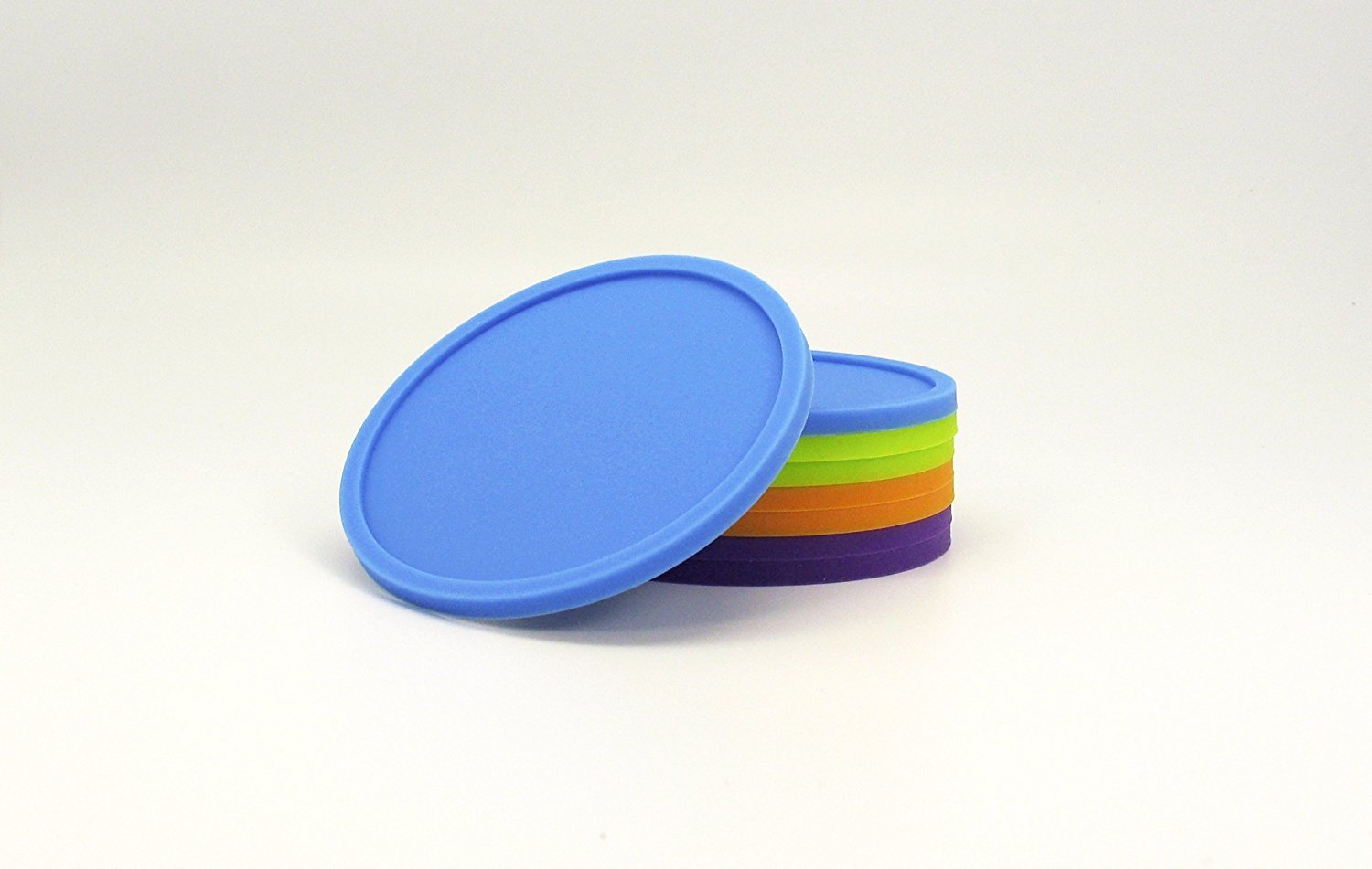 Table Kitchen Assorted Color Office Set of 8 Silicone Drink Coasters Non Slip Grip Great for Home Desk