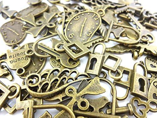 【HARU雑貨】金古美 チャーム 小さめ 60個セット/鍵 羽 ハート 時計など/ハンドメイド材料