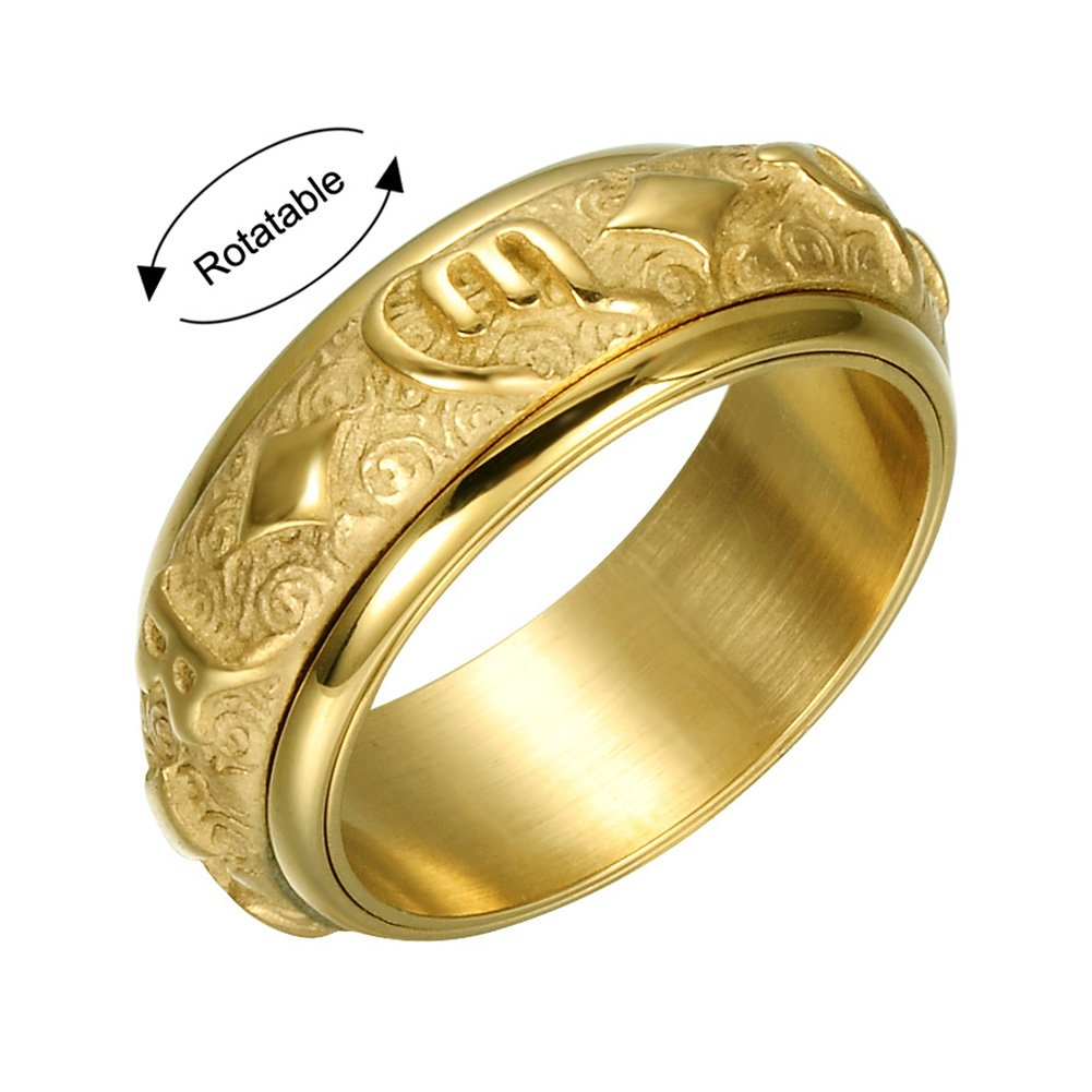 LILILEO Jewelry 8mm Gold Stainles Steel Tibetan Buddha Six True Syllable Mantra ''Om Mani Padme Hum'' Spins Ring For Men's Rings by LILILEO