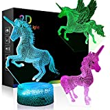 Unicorn Night Light w/ 3 Different Unicorn Style, Ticent 3D Illusion Lamp 7 Color Changing with Remote - A Great Toddler Girl Boy Gifts