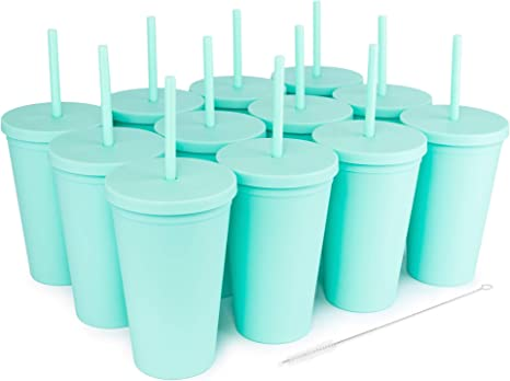 Matte Pastel Colored Acrylic Tumblers with Lids 12 pack SKINNY TUMBLERS