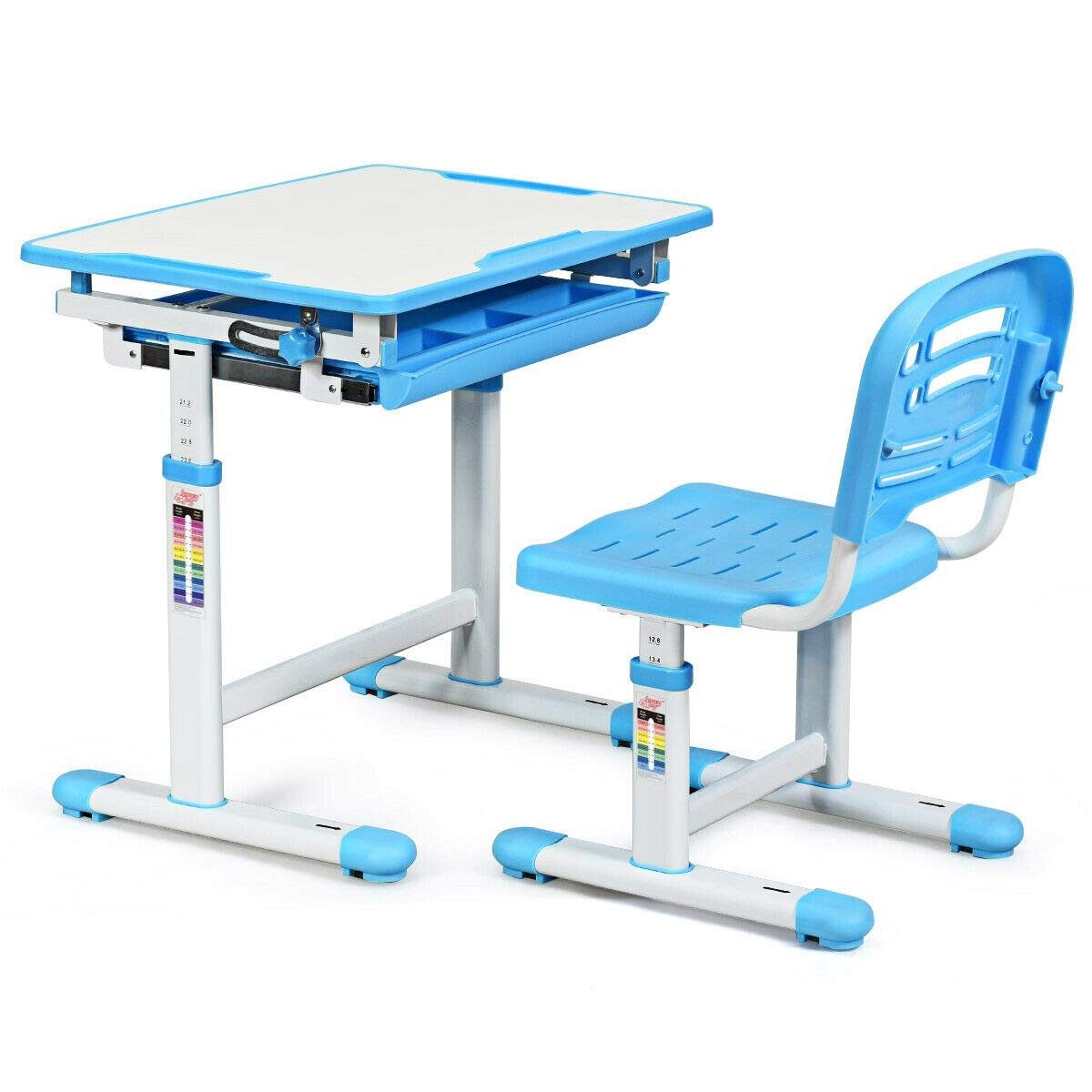 JF World Adjustable Children Multifunctional Study Drawing Desk Chair Set-Blue by JF World