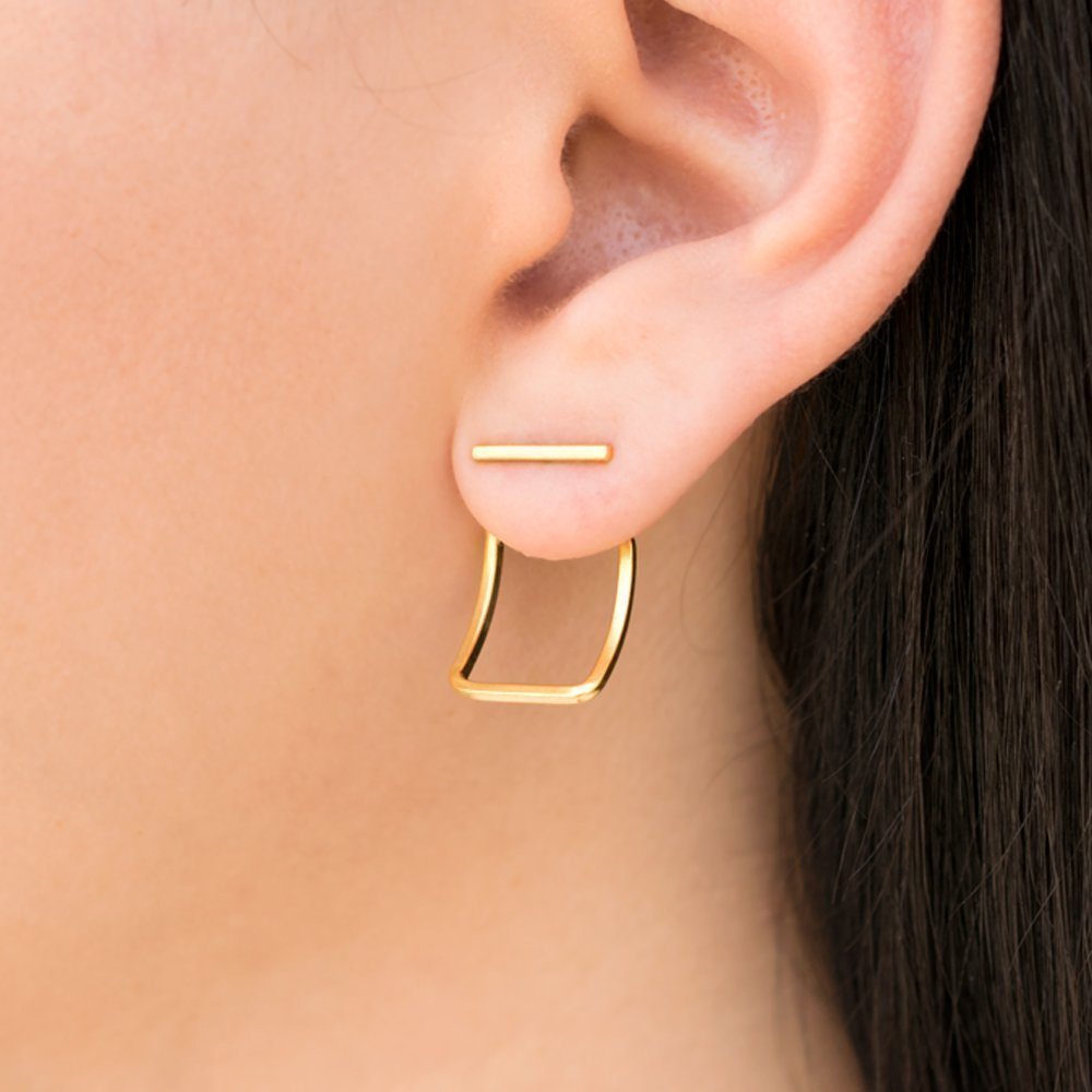 filled bended gift minimalist gold line pin woman jewelry bar metalwork stud for earrings post
