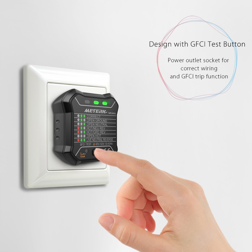 Meterk GFCI Electric Socket Tester Automatic Neutral Live Earth Wire ...