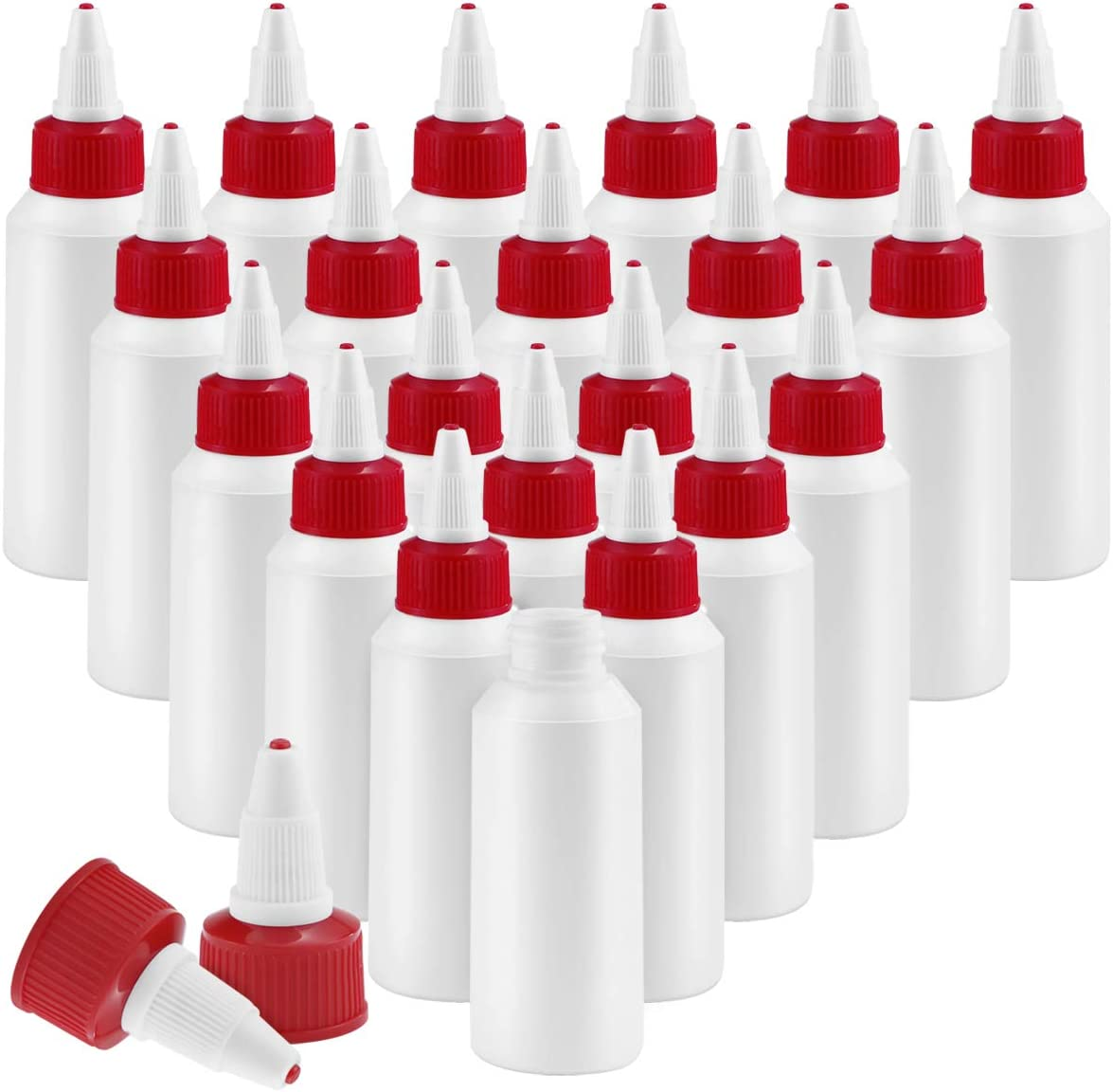 Twdrer 20 Pack Dispensing Bottles with Twist Top Cap,Small Boston Round LDPE Plastic Squeeze Bottle(2oz/60ml)