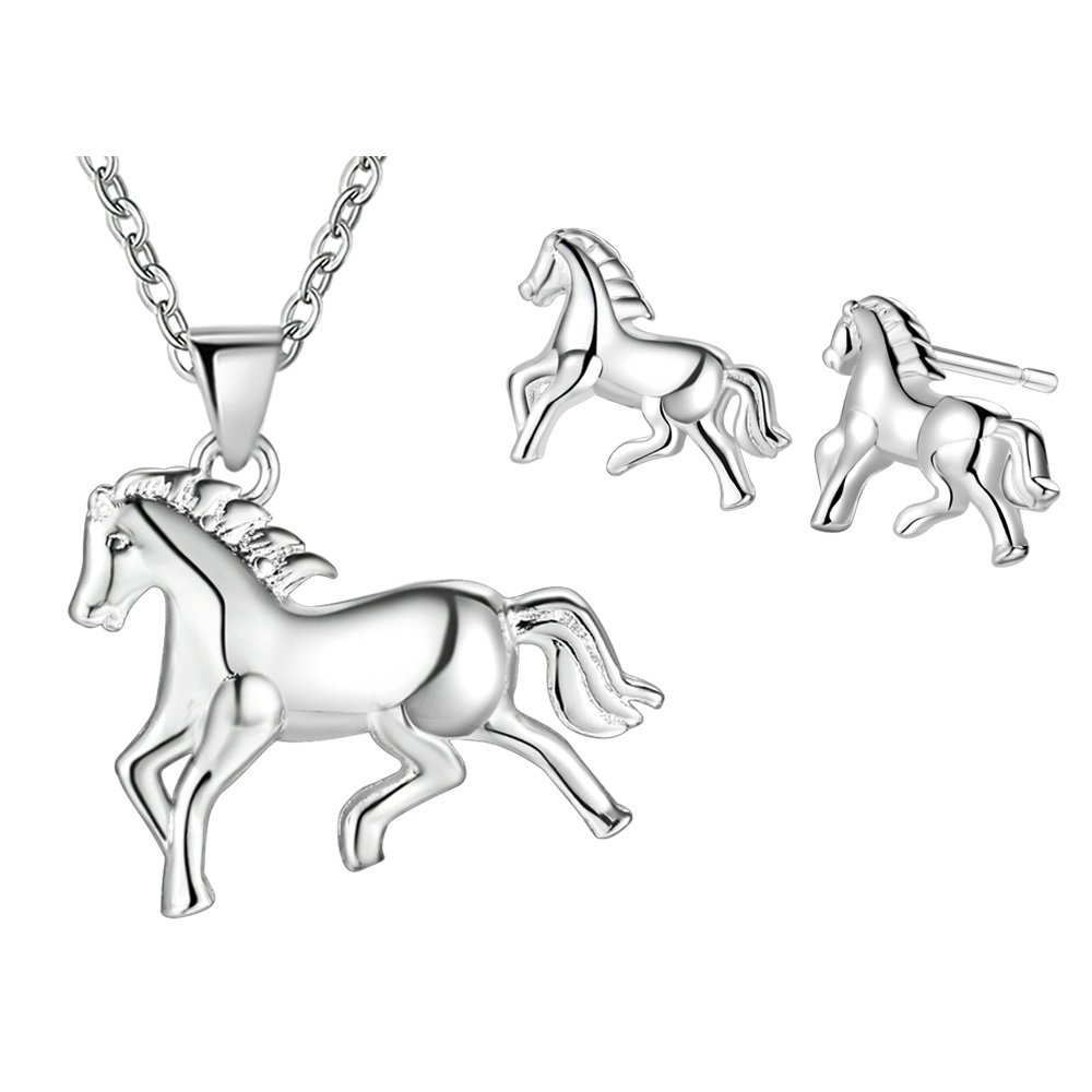 Onefeart Sterling Silver Necklace Pendant Earrings Jewelry Set for Women Run The Horse Wedding Gifts NEWF11th193