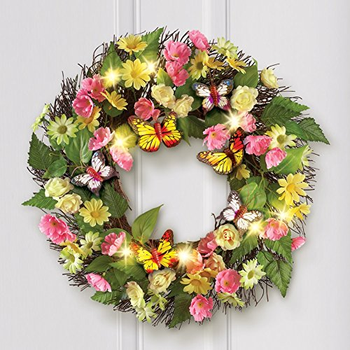 Outdoor lighted wreaths amazon lighted butterfly rose daisy pastel flowers decor spring wreath wall hanging decoration aloadofball Images