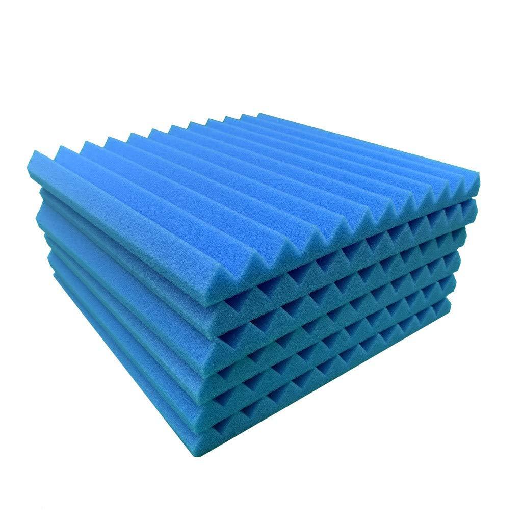 Ecosin 6Pcs Self Adhesive Acoustic Foam Wall Sticker Panels Studio Foam Sound Stop Absorption Sponge Studio KTV Soundproof Foam Wall Panel 12x12x1 Gray