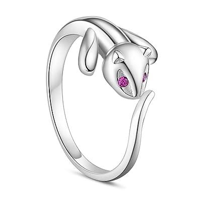 findout ladies 925 sterling silver cute cat open rings , for women girls (f1609)