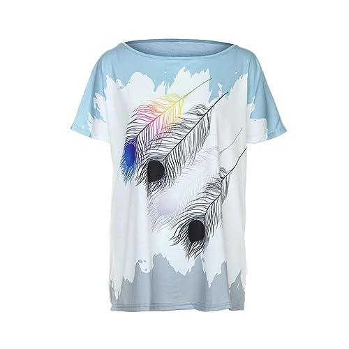 SHOBDW Blusas de mujeres verano atractivas de la camiseta de manga corta de la Camiseta de Parte sup...