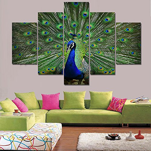 Extra Large Pictures for Bedroom Peacock 5 PCS Peafowl Prints on Canvas Artwork Green Animals Contemporary Pictures Paintings Wall Art Home Decor Framed Gallery-Wrapped Ready to Hang(60''Wx40''H) by Warm Artwork