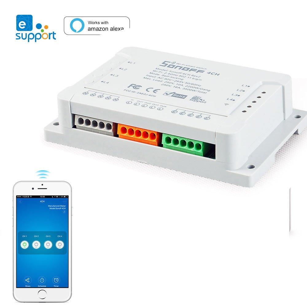 sonoff intelligents Interrupteur 4 sorties, la avec Alexa & Google Home Assistant & ifttt Fonctionne, 4 canaux, Wi-Fi Interrupteur horaire pour té lé commande de 4 appareils indé pendant yunlink