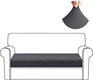 HDCAXKJ Stretch Couch Cushion Covers Soft Spandex Sofa Seat Cover for Loveseat Sectional Sofa Slipcovers Living Room Non Slip Furniture Protector with Elastic Bottom and Straps (Large, Gray)
