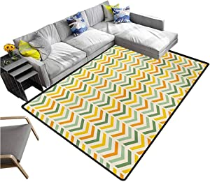 Chevron Indoor Area Rug Retro Countryside Colors Zigzags in Vertical Direction Striped Composition Carpet for Bedroom Green Yellow Orange (4'x6')