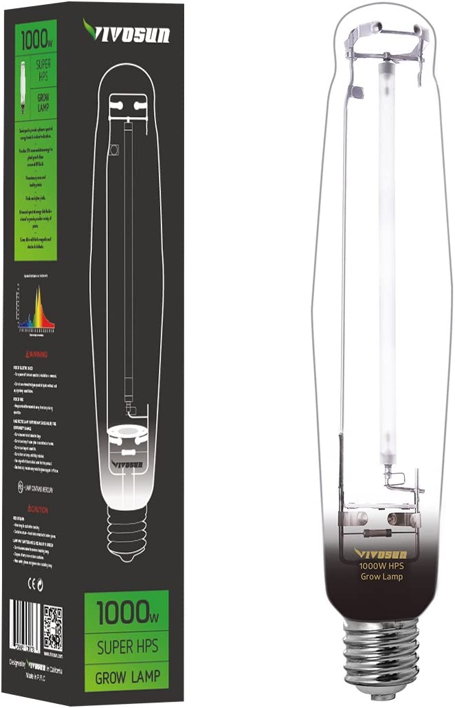 VIVOSUN 1-Pack 1000 Watt High Pressure Sodium HPS Grow Light Bulb Lamp - High PAR Enhanced Red and Orange Spectrums CCT 2100K, Ultra Bright 140,000 Lumens