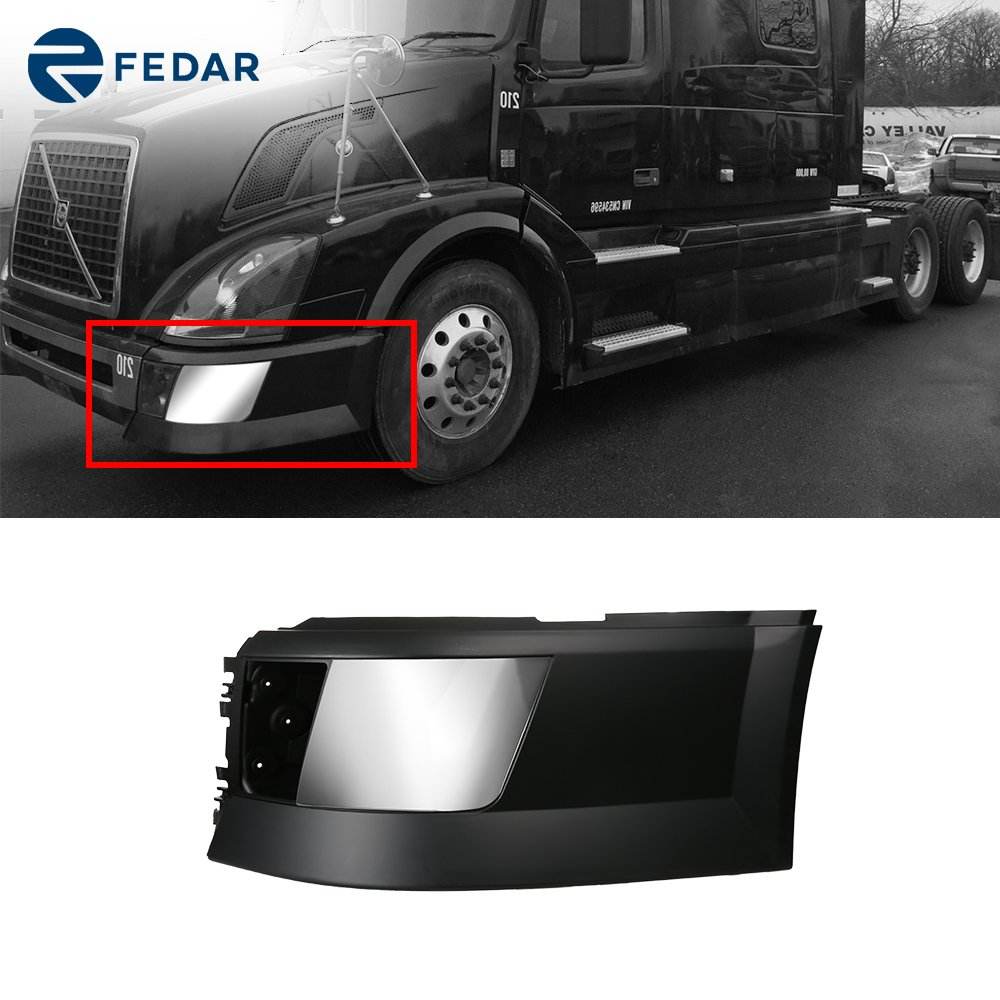 Fedar Bumper Ends with Chrome Front Cover for 2004-2017 Volvo VNL Fedar Group Inc