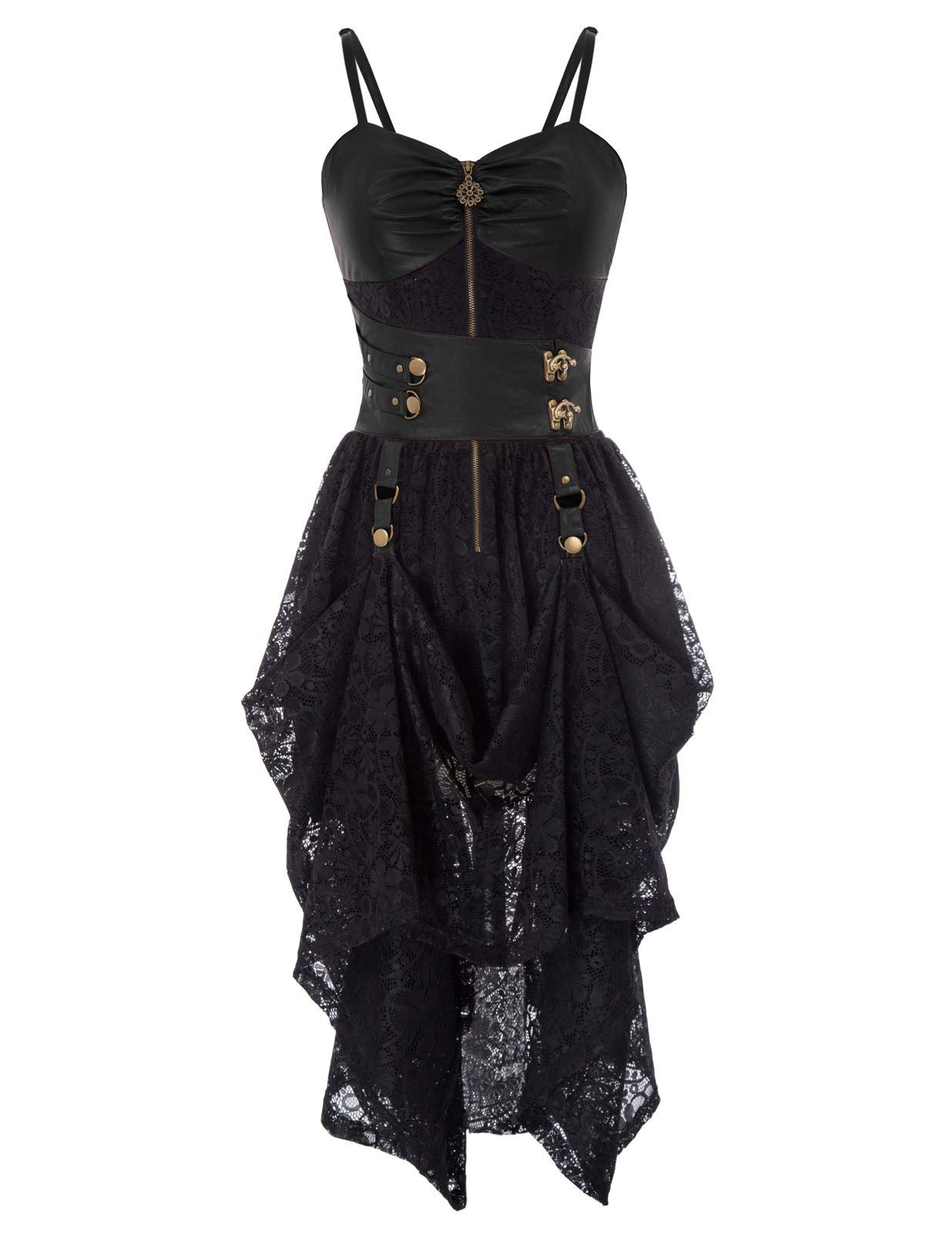 Womens Gothic Dress Steampunk Faux Leather Decorated High-Low Hem Lace Dresses 3