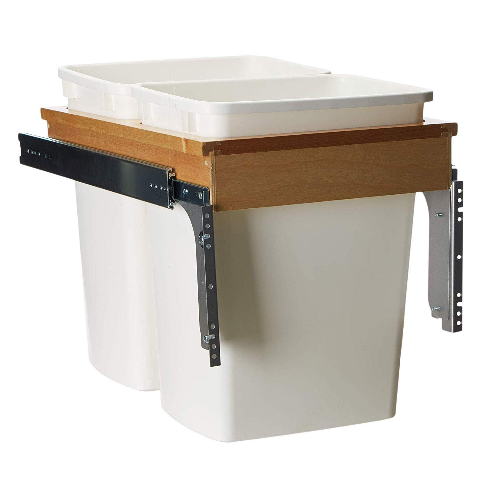 Rev-A-Shelf 35 Quart Pull Out Sliding Double Waste Trash Container Bin, White by Rev-A-Shelf