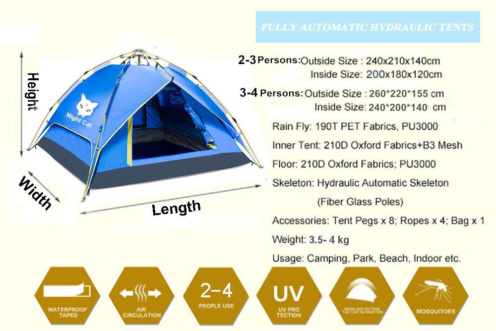 f2ad669101 Night Cat Camping Tent 2 3 4 Person Easy Instant Pop Up Tent Backpacking  Automatic Hydraulic Double Layer