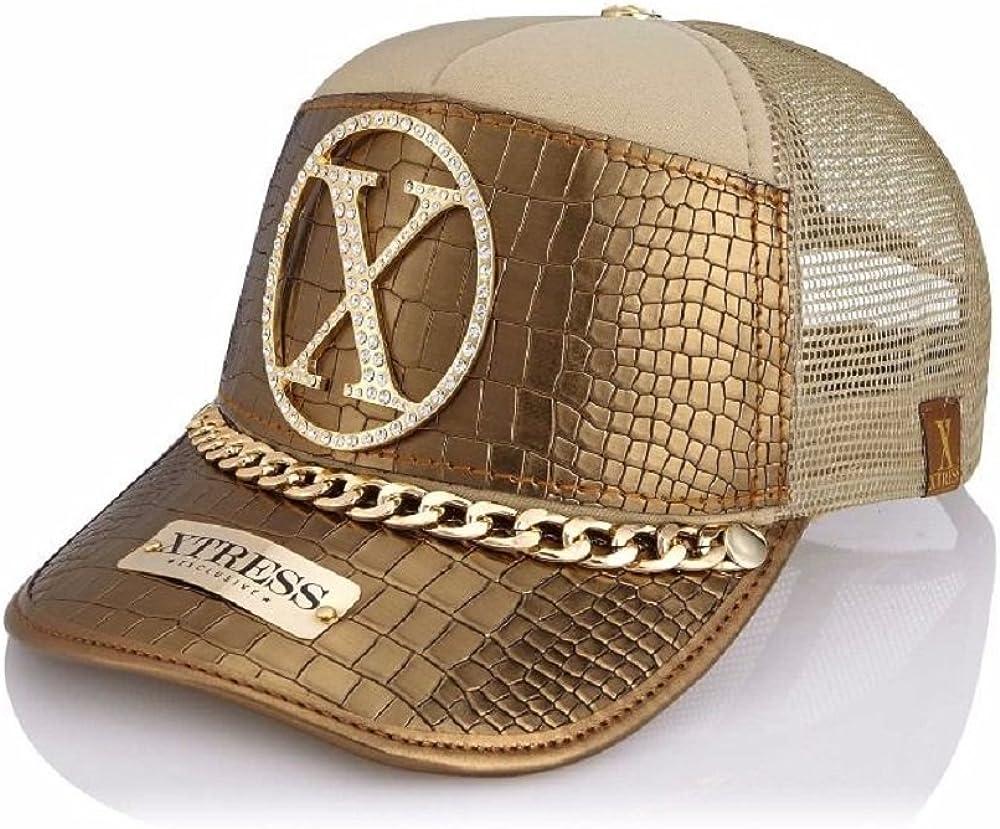Xtress Exclusive Gorra dorada de cuero para hombre y mujer: Amazon ...