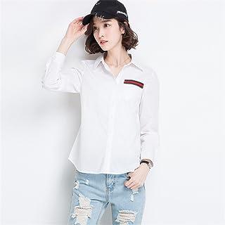 Signore del Tempo Libero della Maglia Maglietta Bianca Han Fan Riparazione Versione Coreana Camicia,White,m