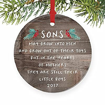 gift for son christmas ornament 2017 sons in the hearts of mothers poem present idea mom from young or grown child xmas ceramic farmhouse keepsake 3 flat
