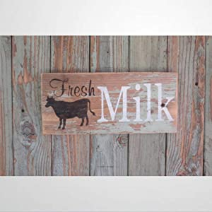 Wooden sign Rustic Home Decor Fresh Milk Sign Chippy Paint Cow Decor Home Decor Wall Decor Montana Wood Sign Primitive Decor Sign Wood Plaque Wall Art Funny wood sign wall hanger Home Decor