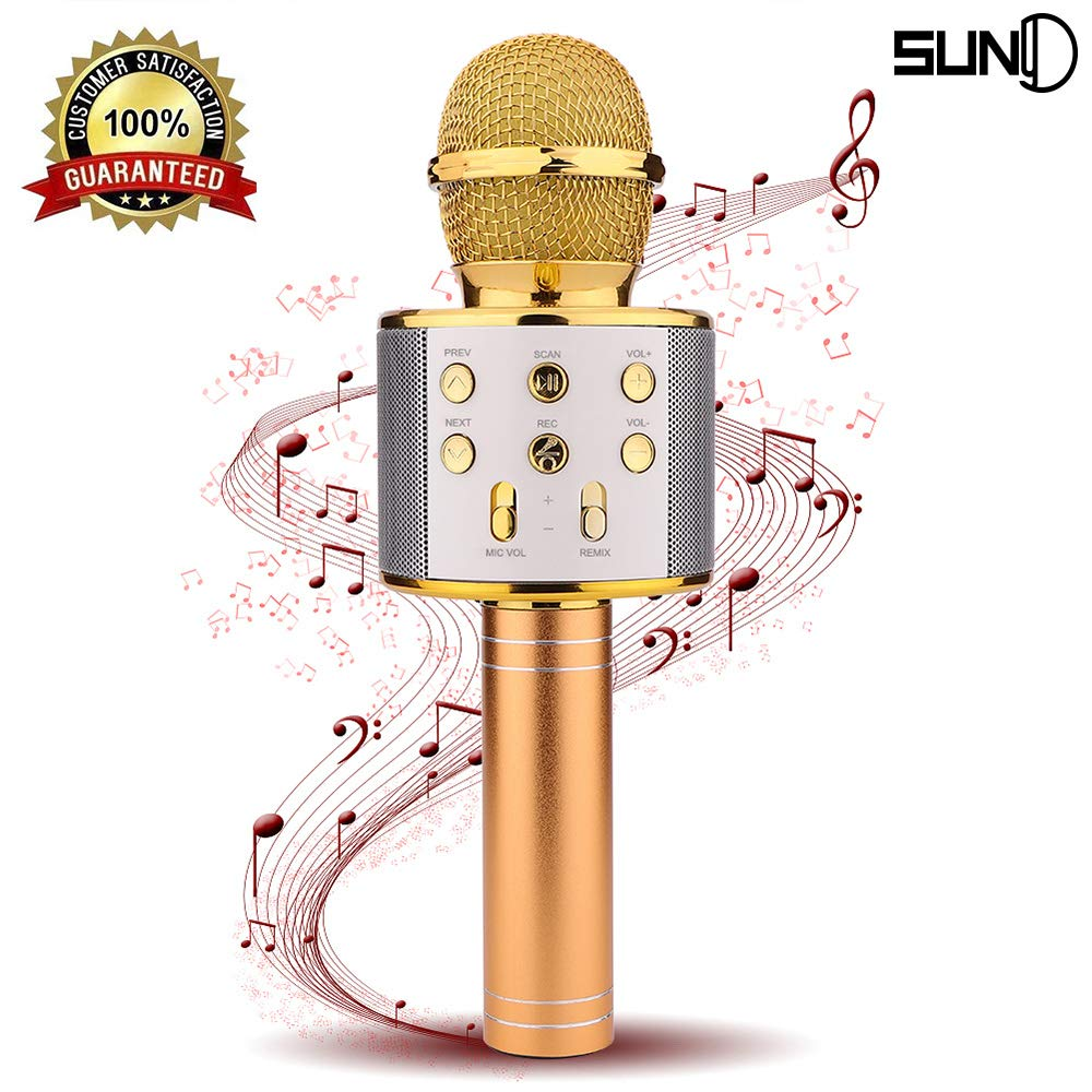 SUNY Wireless Bluetooth Karaoke Microphone Portable Handheld Karaoke Mic Speaker New Year Gift for Kids Adults Birthday Home Party KTV Compatible with iPhone/Android/iPad/PC/All Smartphone (Gold) by SUNY