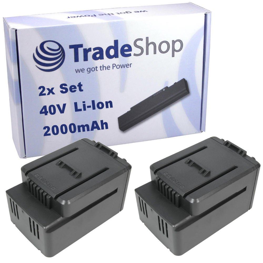 2x Trade-Shop Premium Li-Ion Akku 40V / 2000mAh / 80Wh passend für Worx WG268, WG268E, WG568, WG568E, WG168, WG168E, WG368, WG368E, WG770, WG770E, WG776, WG776E ersetzt Worx WA3536