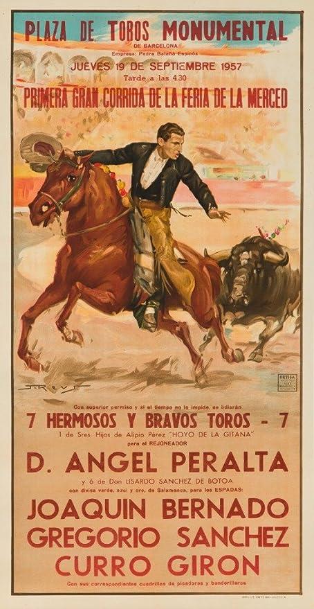 Plaza de Toros Monumental Vintage Poster (artist: Reus) Spain c. 1957 (