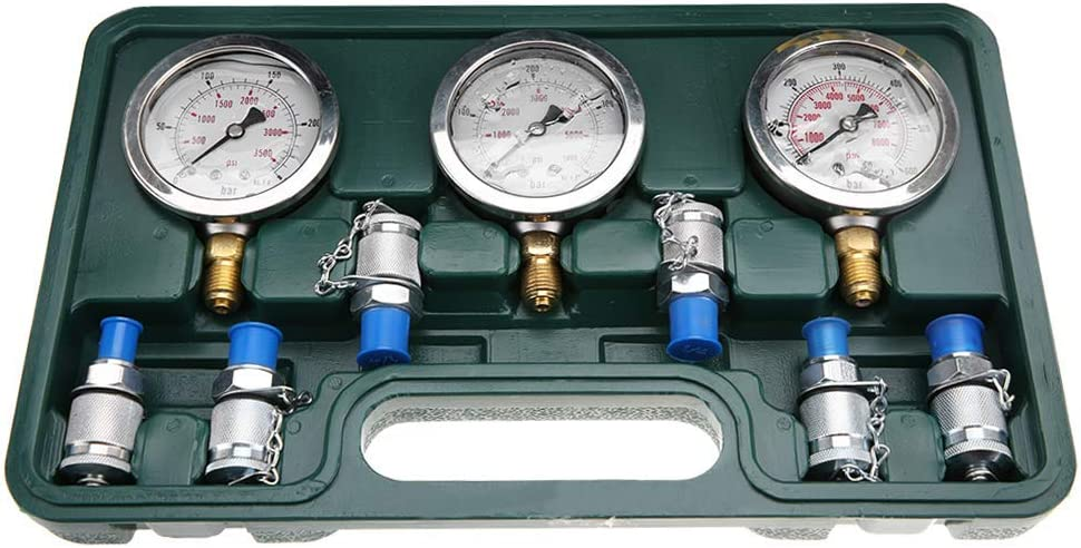CHUNSHENN G1//4 NPT1//4-18 Excavator Hydraulic Pressure Test Kit with Testing Point Coupling and Gauge Hydraulic Equipment Gauges
