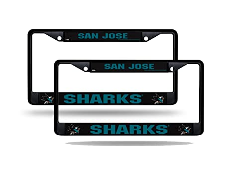 Image Unavailable. Image not available for. Color  Rico San Jose Sharks NHL  Black Metal (2) License Plate Frame Set bced14aee5be