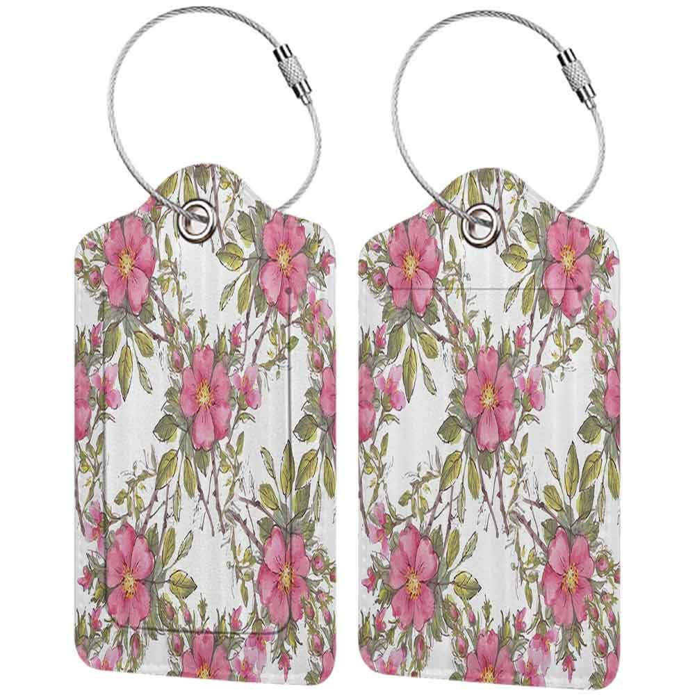 Multicolor luggage tag Flower Watercolor Dog Rose Garden Pattern with Leaves and Buds Image Hanging on the suitcase Light Pink White and Lime Green W2.7 x L4.6