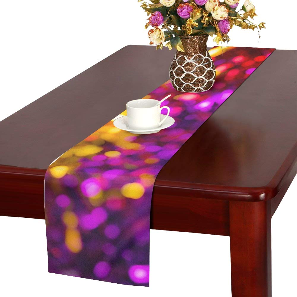 Abstract Blur Blurred Bokeh Color Table Runner, Kitchen Dining Table Runner 16 X 72 Inch For Dinner Parties, Events, Decor