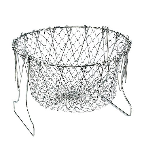 Decdeal Kitchen Foldable Fry Basket 201 Stainless Steel Fruit Vegetable Rinsing Washing Basket -