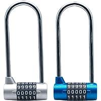 Tinmovys 2pcs 4.6 Inch Long Shackle Combination Lock 5 Digit U-Lock Resettable Padlock for School, Employee, Gym…
