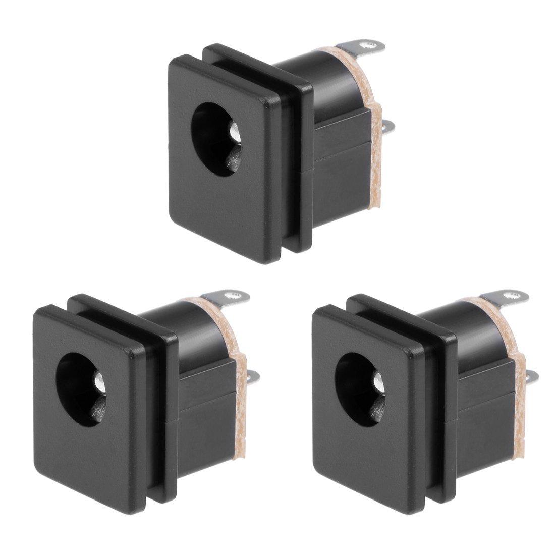 eDealMax 3個PCBマウントDC015 5.5mm x 2.5mm 3ピンオーディオビデオDC電源コネクタソケットブラック   B07SYHS3GD