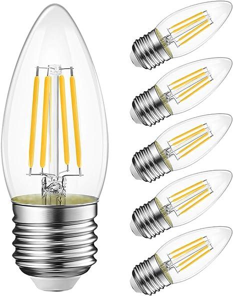 B11 Led Filament Bulb E26 Candelabra Base 4 5w 60w Equivalent Lvwit Dimmable 2700k Warm White Chandelier Decorative Candle Light Bulb 6 Pack Amazon Com