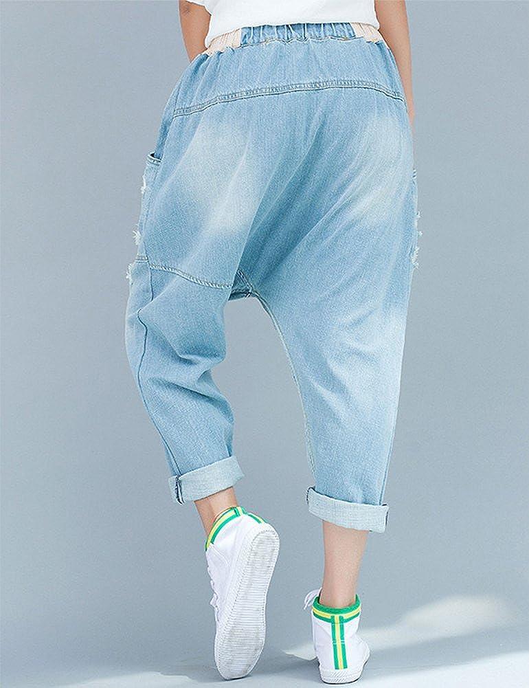 IDEALSANXUN Women/'s Casual Ripped Loose Harem Denim Pant Jeans