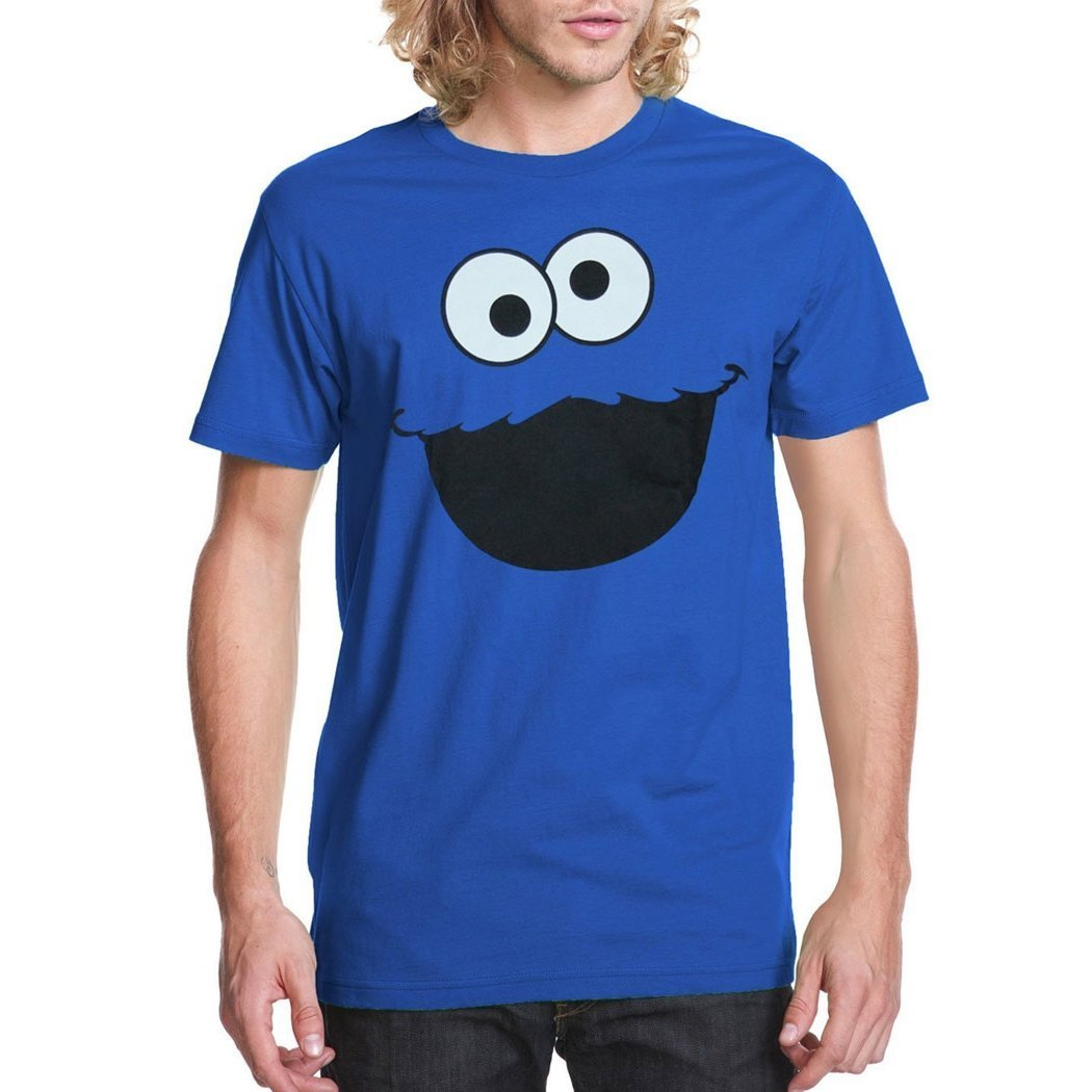 Sesame Street Cookie Monster Face Adult T-Shirt-XXX-Large