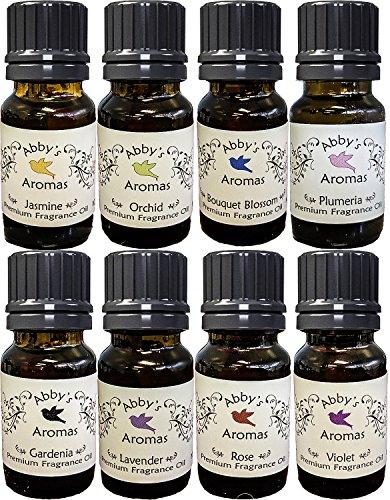 Abbys Aromas Premium Floral Fragrance Oil 8 Fragrances (6 + 2 Bonus Scents = 8 Total), Vegan, Phthalates (Lilac Scent Oil)