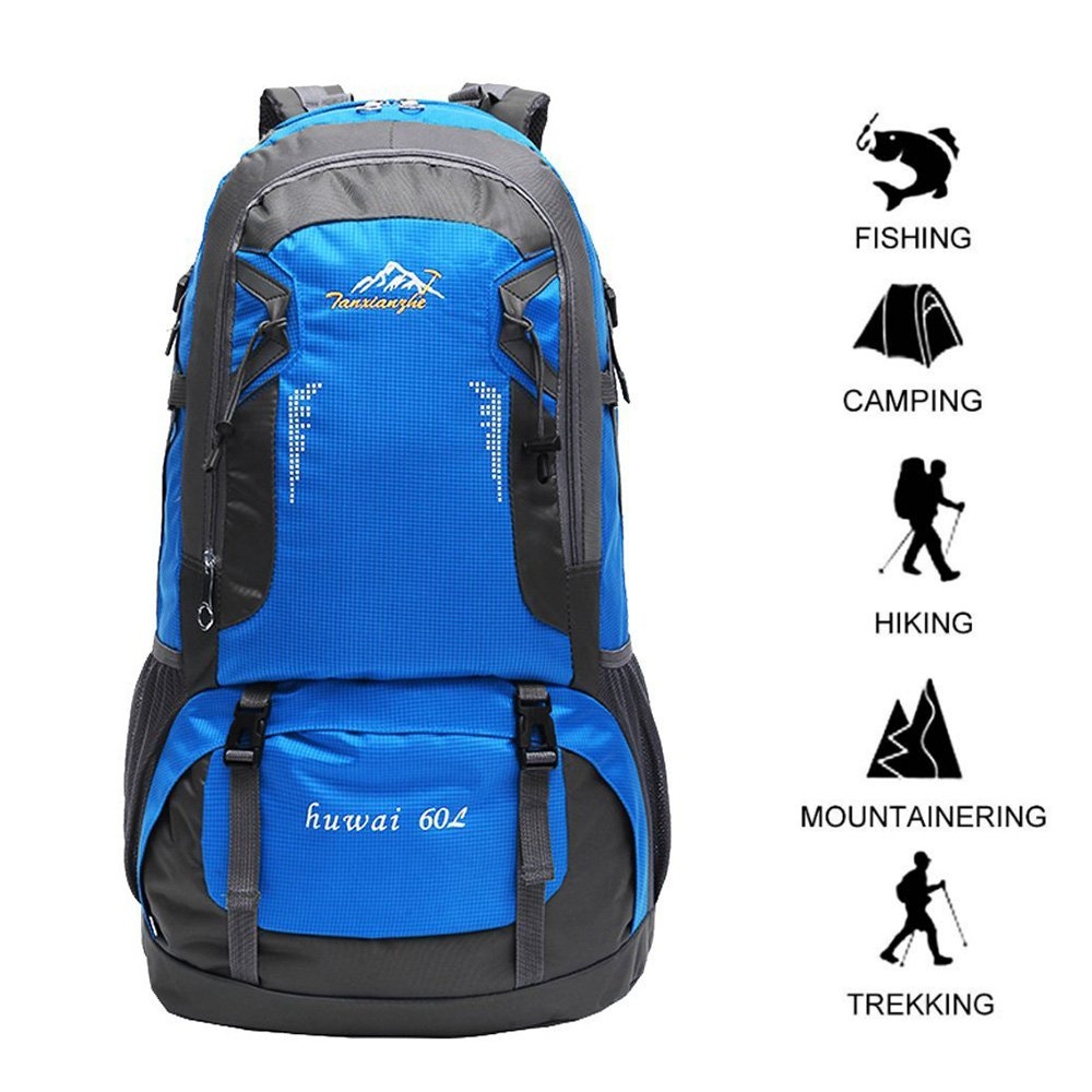 Gohyo 60 L Waterproof Ultra Lightweight Packable Climbing Fishing Backpack Hiking Daypack, Handy Foldable Camping Outdoor Backpack Bag with a Rain Cover (Blue, 60L)