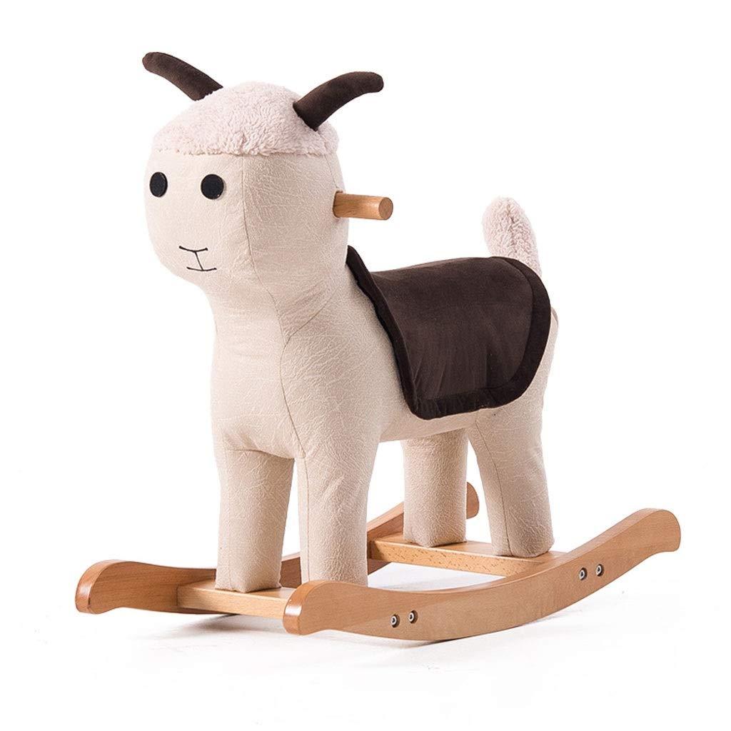 YangMi 子供用の木馬- 子供の純木動物のトロイの木馬のおもちゃ、赤ん坊の漫画のロッキングチェアのおもちゃ (色 : Off-white C, サイズ さいず : 65x30x53cm) 65x30x53cm Off-white C B07QGKFHYJ
